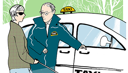 illustration av taxichaufför som hjälper en synskadad person in i bilen