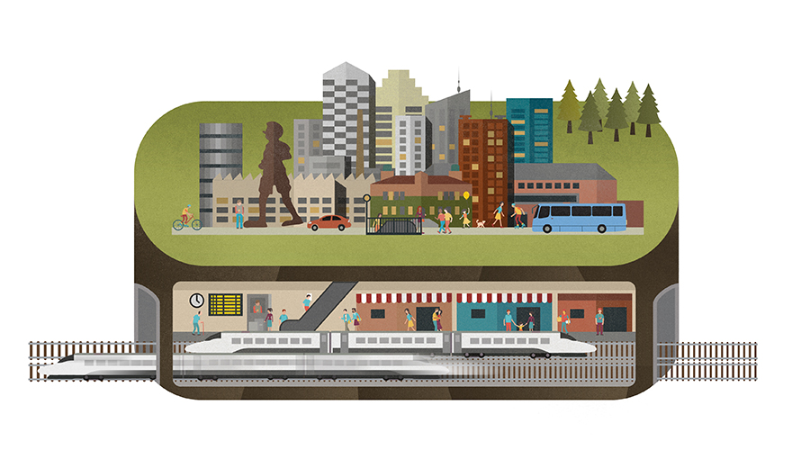 Illustration av järnvägsstation.